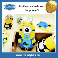 hot new products for 2014 with despicable me 2 minions 3d silicone animal soft case for iphone 5