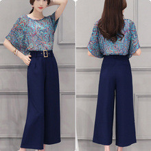 wholesale plus Size half pants for ladies blue elastic waist style wide Leg design ladies pants
