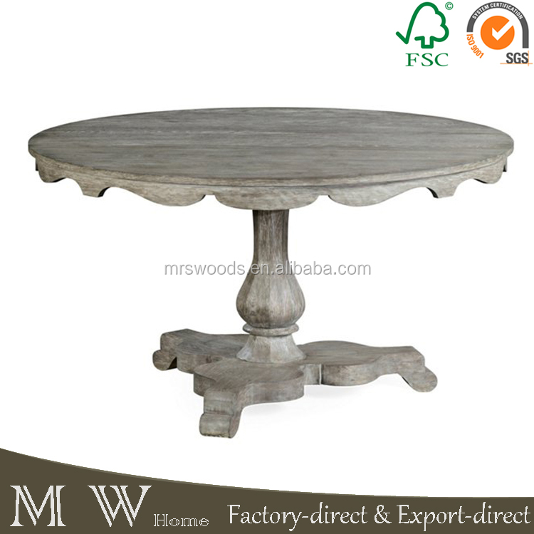 new design grey rustic round wooden dining table