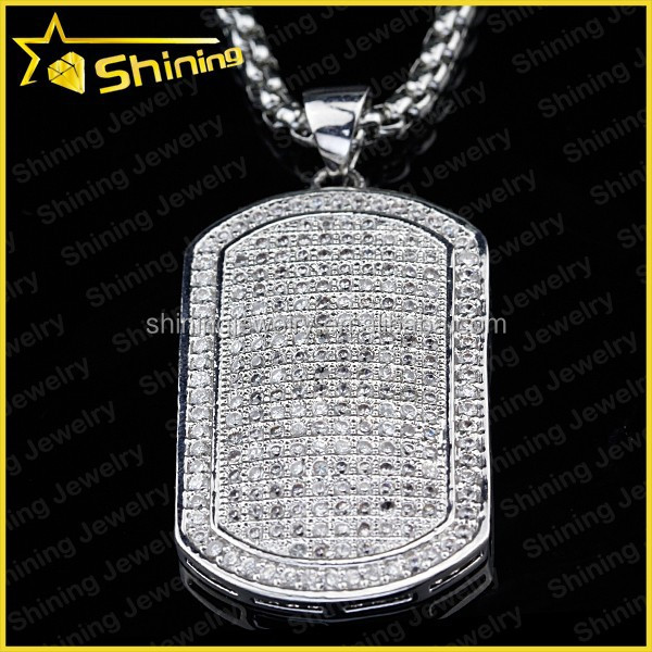 iced out micro pave lab diamond cz sterling silver dogtag