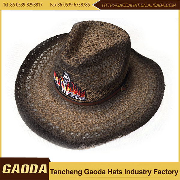 Red Fashional Paper Cowboy Hat Summer Hat Dress Hats