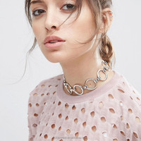 gold/silver circle copper ring choker statement necklace(SWTJU2085)