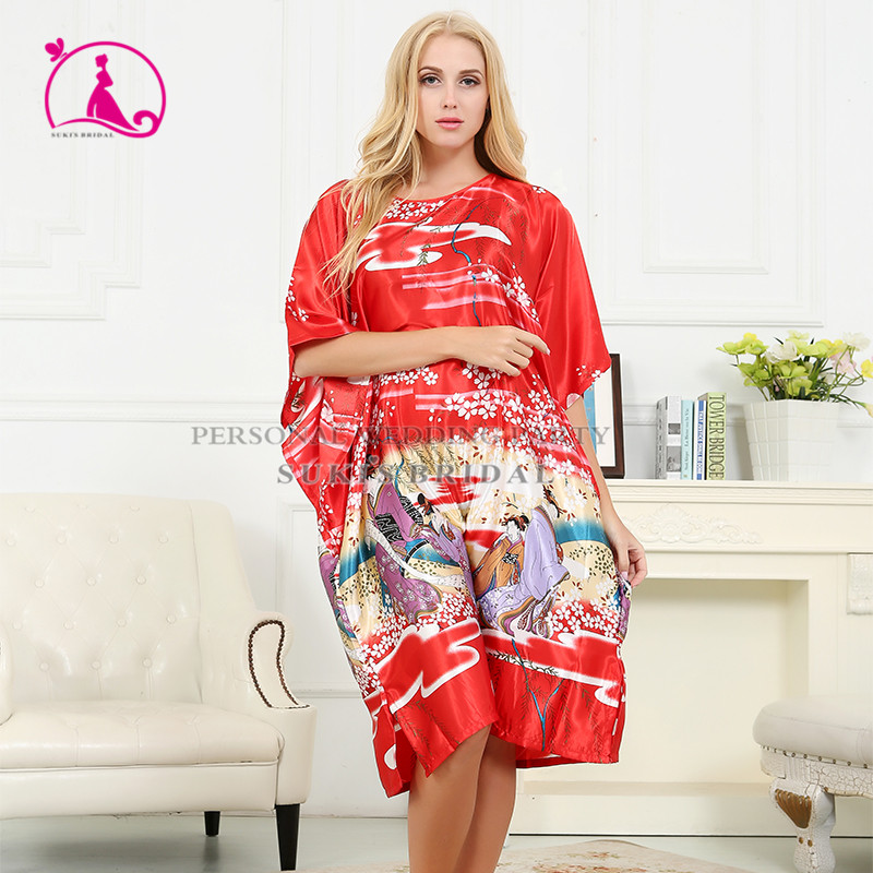 2016 Chinese Style Round Colla Womens Sleepwear Silk Robes,Plus Size