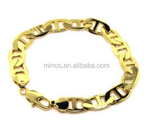 Anchor Marine Bracelet - 24 k Gold Plated - Men's - 12MM WIDE