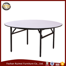 Make in China durable plywood top metal frame indoor hotel white dining table