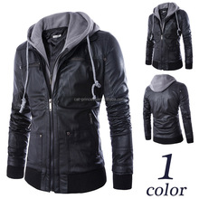 Men leather jacket with hoody