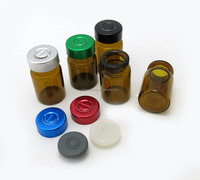 Mini 6ml medicine glass bottle with rubber stopper&aluminum flip off cap