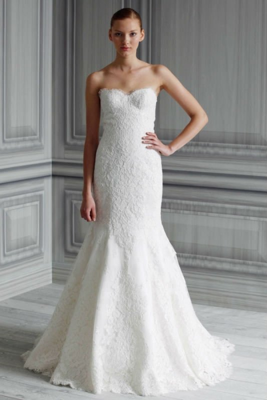 new high quality bateau neck lace strapless wedding apparel white