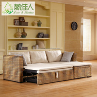 Rattan Wicker Hand Woven Living Room Furniture Set Storage Sofa Come Bed Design For Sofa