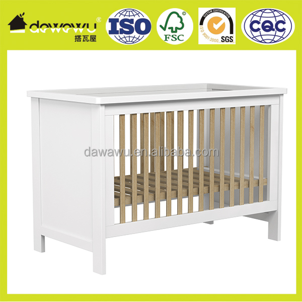 Baby/Child Sleeping Cot Bed - White With Pine Trim