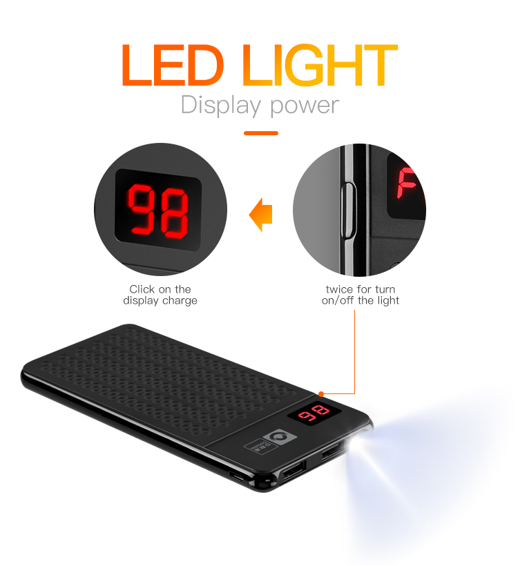 Hot sale 10000mah OEM portable fast charging notebook designs power bank