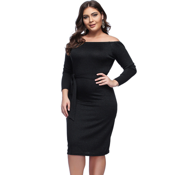 Elegant Fashion Black Off Shoulder Long Sleeve Bandage Waist Control Bodycon Dress