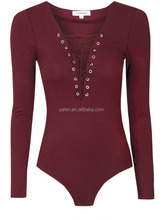 Ladies Long Sleeve Burgundy lace up body suit, Women Tops