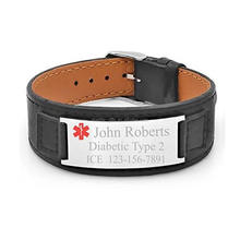 custom medical italian leather bracelet for men