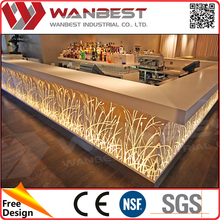 Modern marble top restaurant bar counter design illuminated led solid surface cafe bar counter