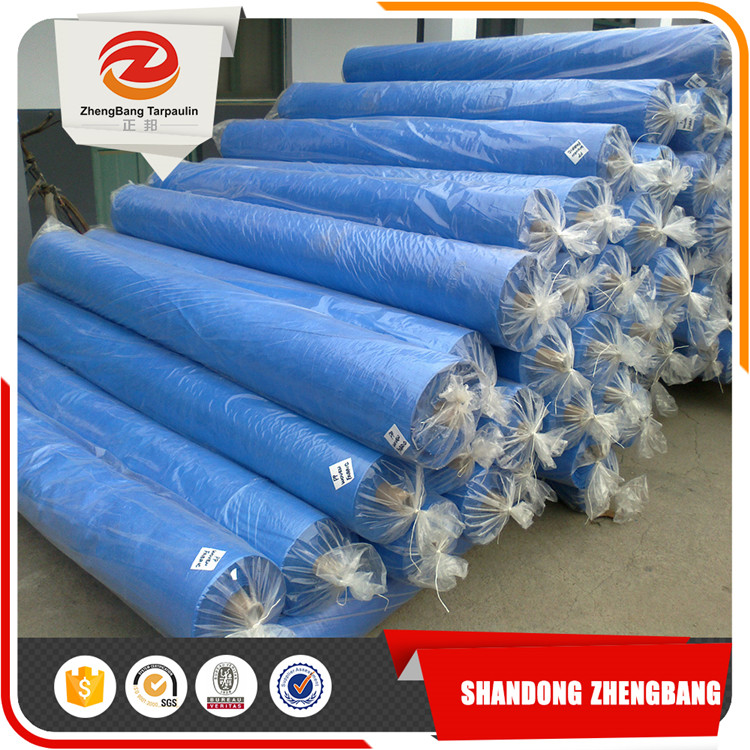 Blue Plastic canvas Pe Tarpaulin fabric Packed In Rolls
