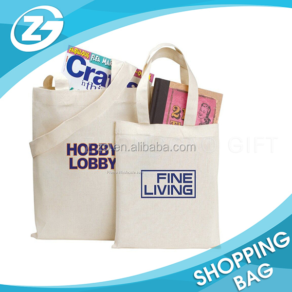 Custom Brand Name Logo Printed Promotion Eco Reusable Book Storage Natural Plain Cotton Bag with Handle