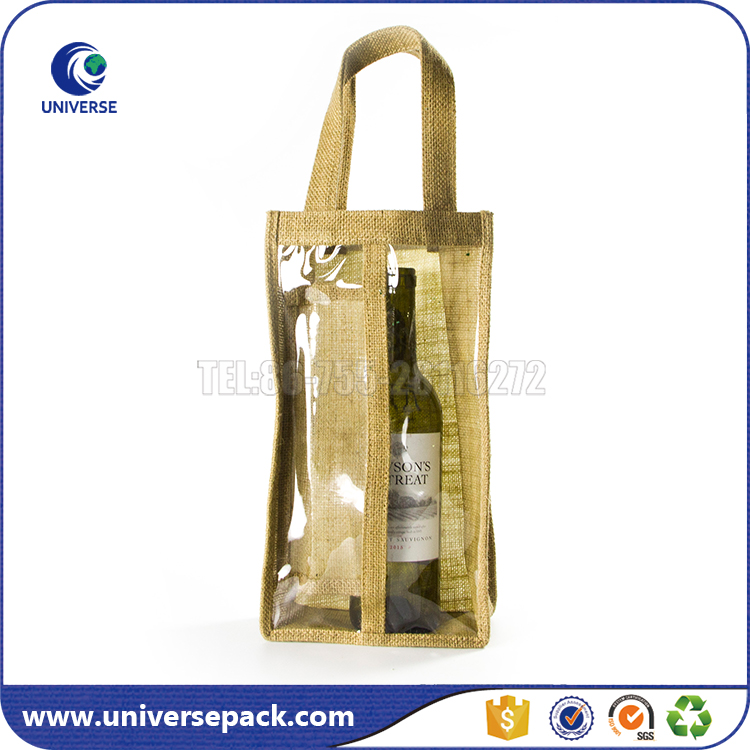Custom wholesale 2 bottles jute wine tote bag with pvc window