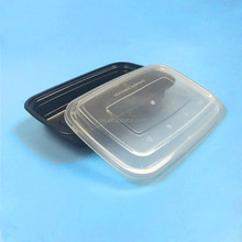 Chinese 750ml / 26oz black rectangular unique plastic food storage take out container / box