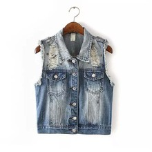 wholesale 100% cotton women ripped jean vest