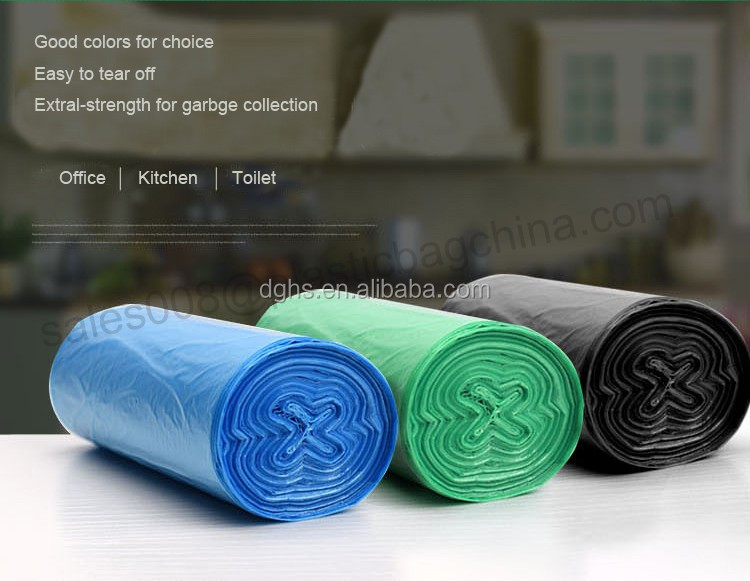 2016 Biodegradable & disposable PE bin liners on roll, plastic jumpo waste bags in black