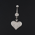 14g stainless steel multi crystal heart belly ring charm dangling navel piercings