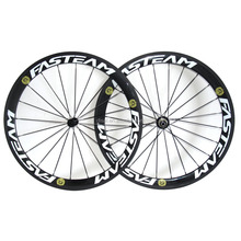High quality 50mm clincher carbon wheelset 700C road bicycle full carbon clincher wheels black white with Fasteam decal
