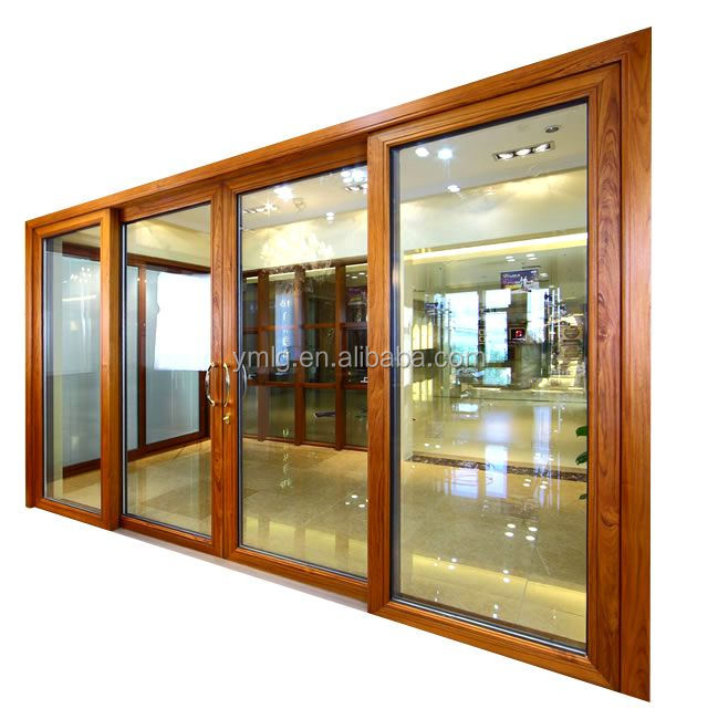 China Factory Direct Sale Waterproof Wood Clad <strong>Aluminum</strong> Sliding Glass Door