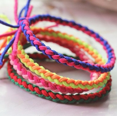 Factory sale colored braided hair elastic band for lady