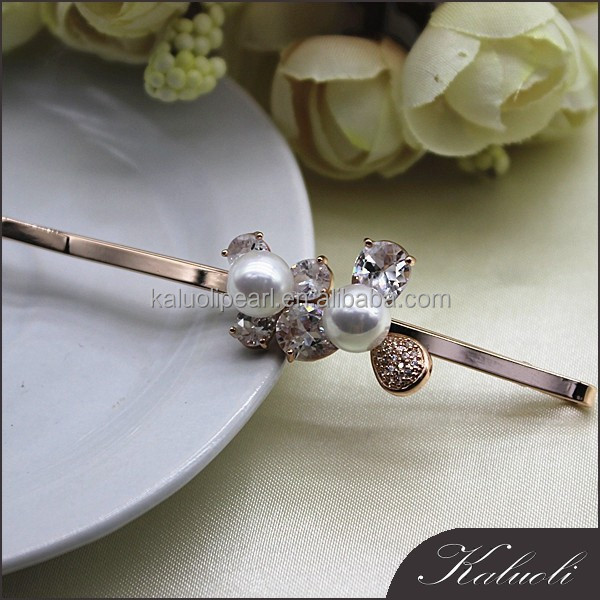 Vintage shell pearl wedding hair accessories bun pins