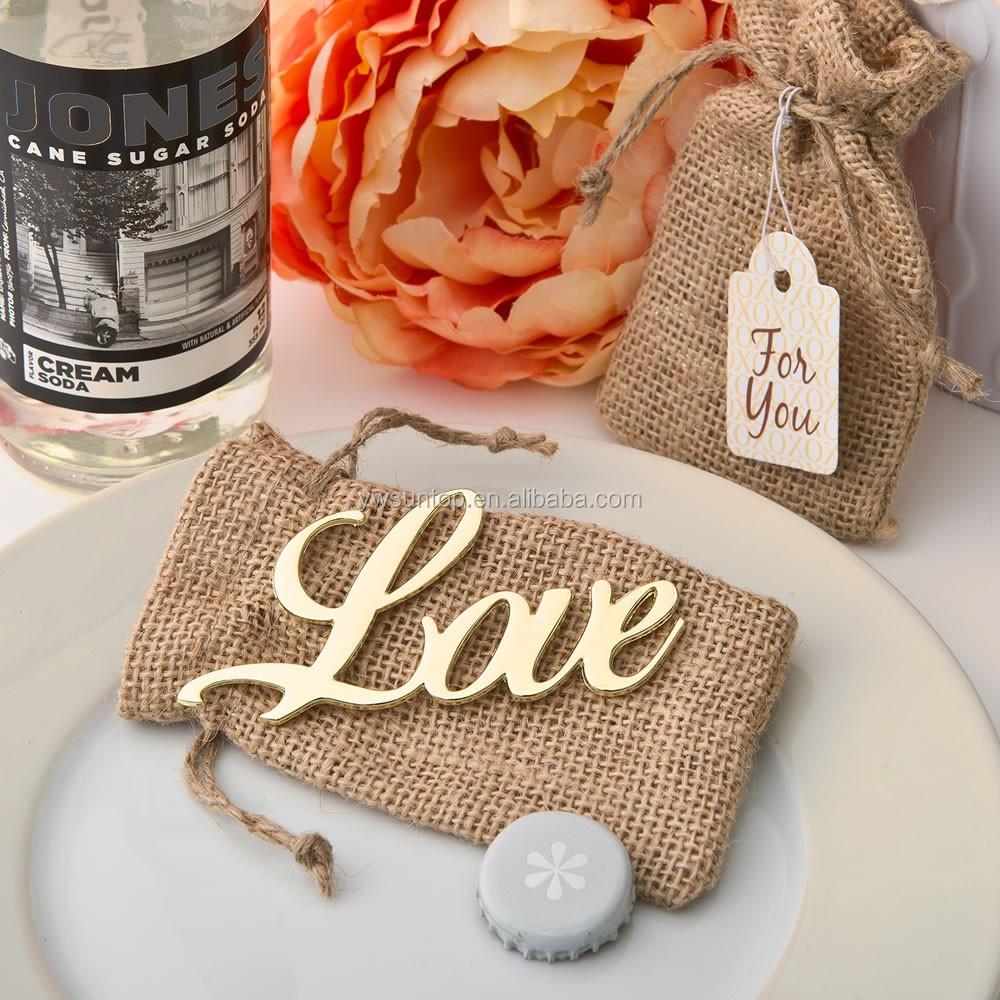 Shabby Chic Rustic Gold Love Bottle Opener Wedding Favors