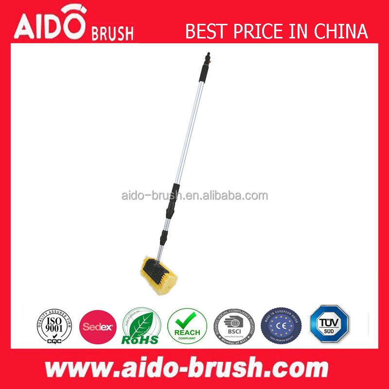 AD-02115 new design Telescopic Water Flow Through car cleaning rotary brush/quick self cleaning brush
