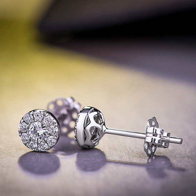 Factory Supply Earring VLOVE Lady 925 Silver Simple Korean Style Diamond Round Earrings