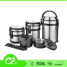 1L,1.6L,2L low MOQ big size fashionable hot water food safety SS 3 compartment food container