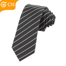 Cheap Custom Woven Mens School Black Striped Skinny Polyester Tie