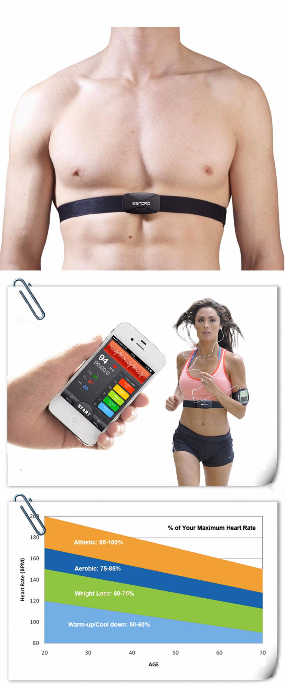 Cycling bicycle soft heart rate monitor chest belt, Bluetooth training workout soft heart rate monitor strap