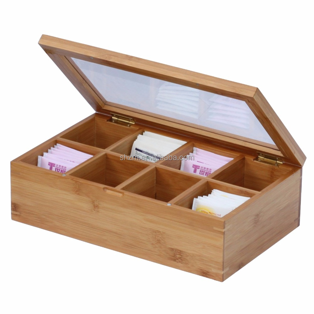 Wholesale 8-Compartment Tea Storage Box with Hinged Lid,Bamboo Tea Storage and Organizer