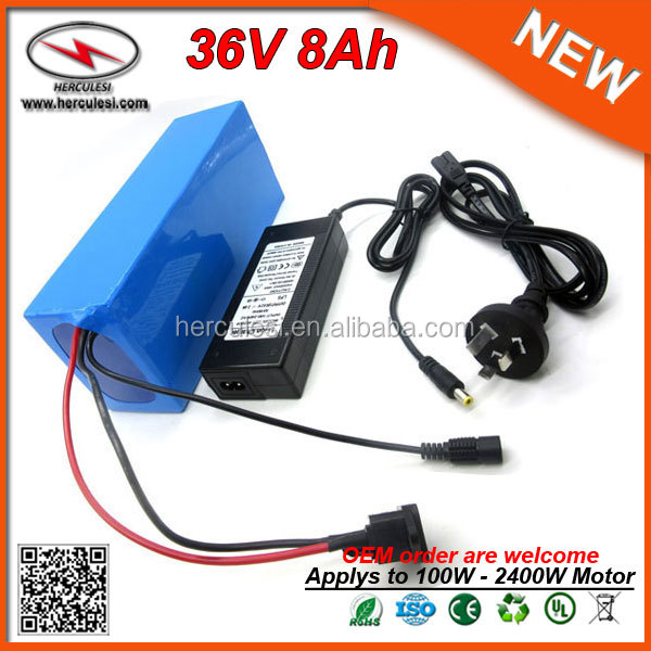 Best Selling Products Dry 36V 8AH Lithium Ion Battery Pack with PVC Case in 18650 Cell + 15A BMS