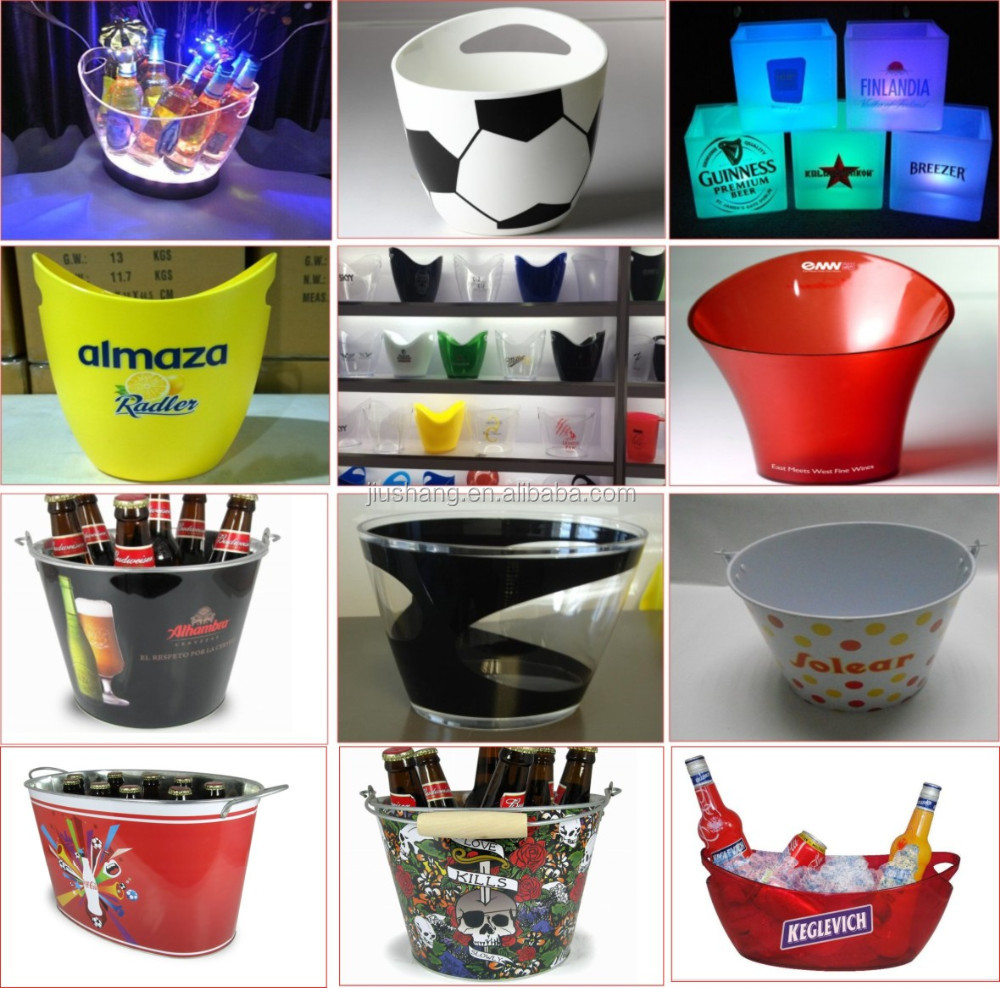 Promotional custom Beer metal ice bucket with bottle opener