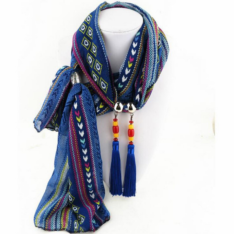 Ethnic Wing Tassel Bead Decoration Women Chiffon Scarf With Jewelry