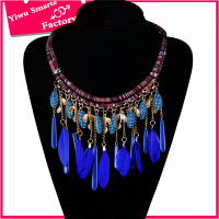 Brazil wholesale lots handmade LUXURY jewelry trends 2016 beautiful big sapphire feather necklace for women