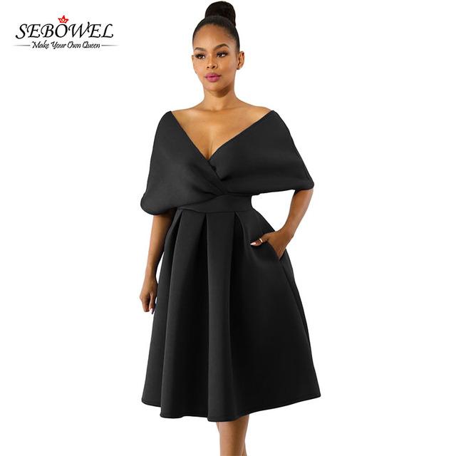 Elegant V Neck Off Shoulders Formal Swing Dress