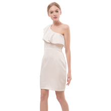 Female white dress sexy spaghetti strap girl's dress one shoulder free prom woman dress
