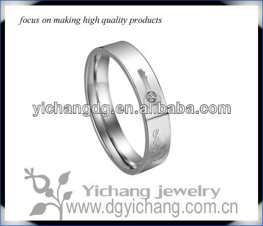 316l Stainless Steel Lock and Key Wedding Band Promise Ring