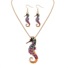 New Design Personalization Enamel Hippocampus Colorful Modern Gold Chain Necklace Jewelry Set