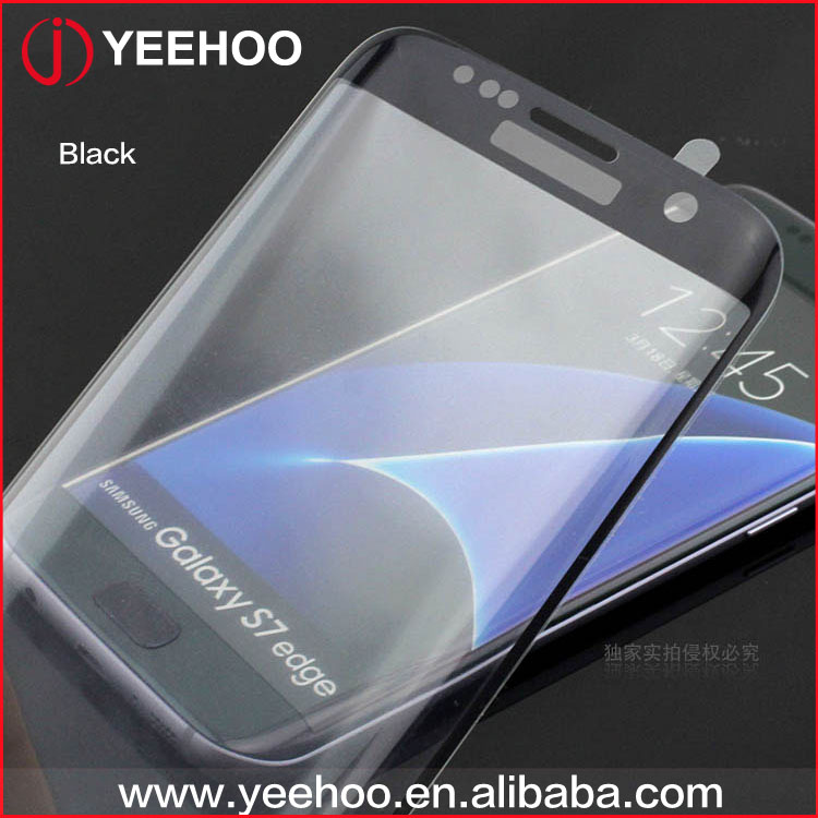 For Samsung Galaxy s7 edge tempered glass screen protector, Full Cover 3D curved s7 edge tempered glass