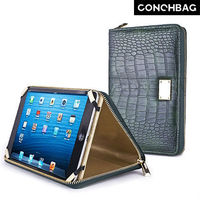 Hot sale!!! Alligator texture zipper wallet case for ipad mini with hand strap