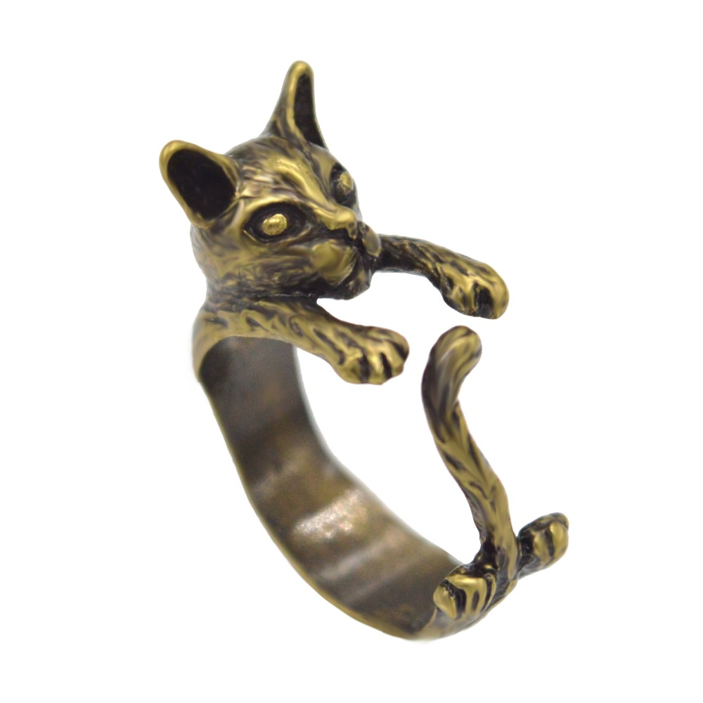 New Style Hot Fashion Vintage Handmade Cat Animal Rings Gift for Women and Ladies Fine Jewelry vintage Unique Adjustable Ring