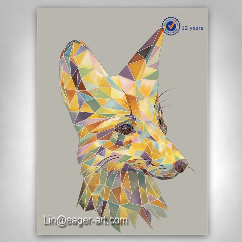 Comtemporary Art Handmade Modern Canvas Animal Fox Picture To Paint Oil Painting On Canvas