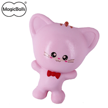 Scented Pink squishy cat kwaii PU cat doll best stress relief toys gift with loop for kids and adults
